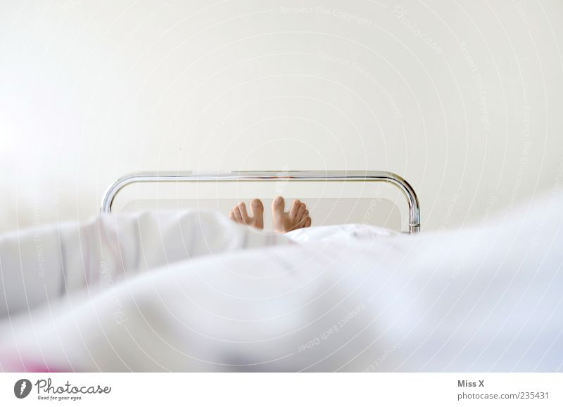 sickbed Health care Illness Bed Lie White Fatigue Exhaustion Pain Feeble Hospital bed Patient Sick room Feet Toes Sleep Colour photo Subdued colour