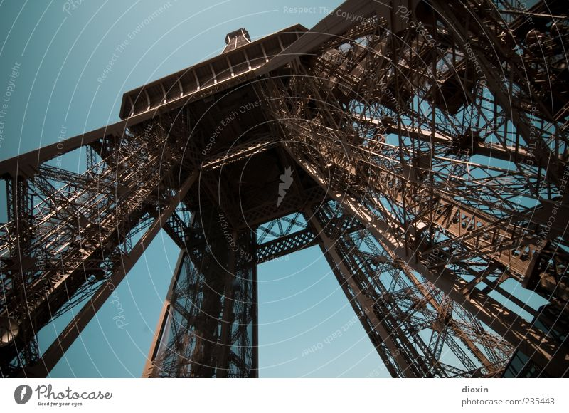 Eiffel Tower High Paris France Capital city Manmade structures Architecture Steel construction Tourist Attraction Landmark Old Exceptional Gigantic Tall Blue