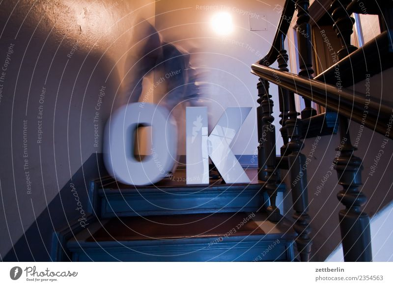OK (2) Handrail Banister House (Residential Structure) Man Human being Stairs Copy Space Staircase (Hallway) Mask Costume Apartment Building Letters (alphabet)
