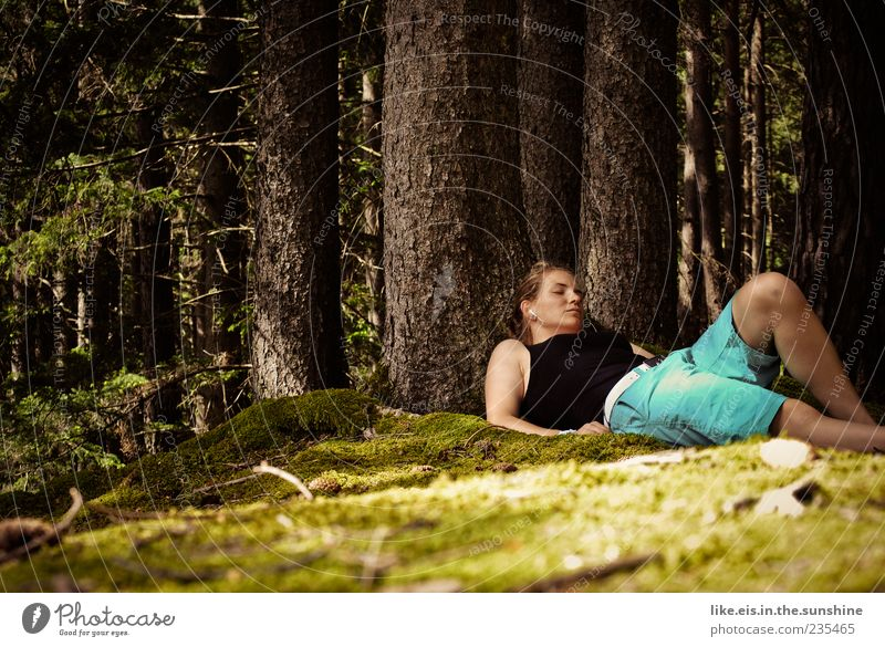 Human being Woman Nature Youth (Young adults) Tree Summer Calm Forest Adults Relaxation Life Feminine Grass Spring Contentment Blonde