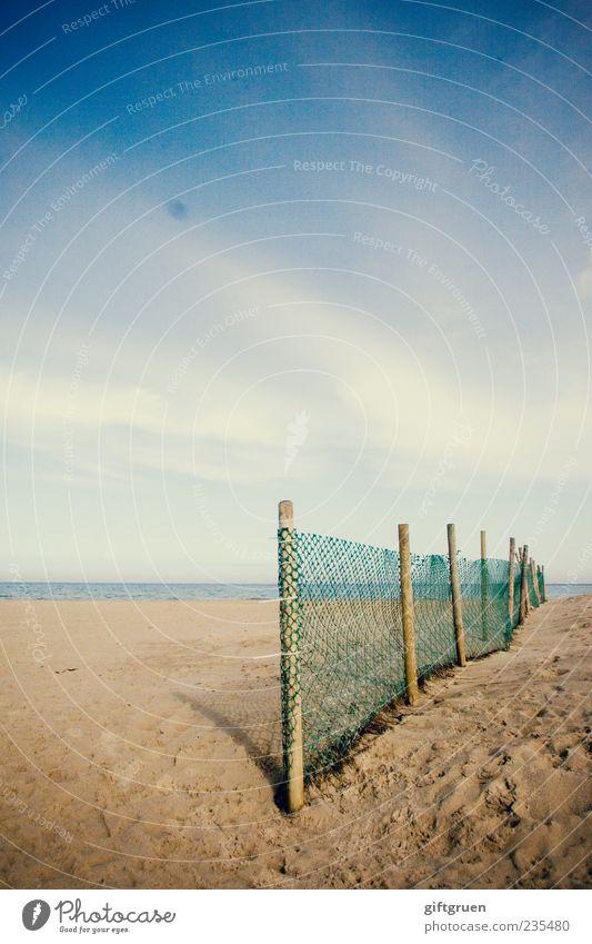 on the beach II Environment Nature Landscape Elements Sand Water Sky Clouds Horizon Sunlight Summer Coast Beach Baltic Sea Ocean Blue Fence Barrier