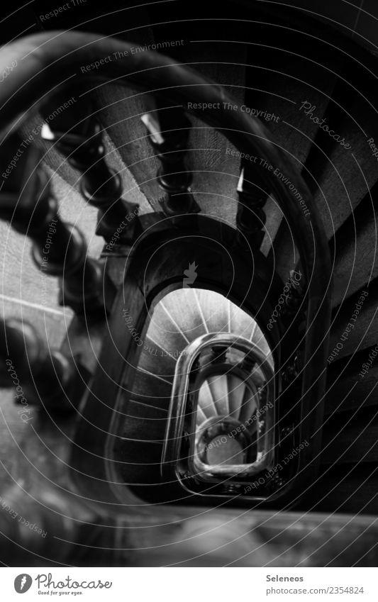stairwell Living or residing Flat (apartment) Interior design Staircase (Hallway) Stairs Banister Landing Stair tower Dark Black & white photo Interior shot