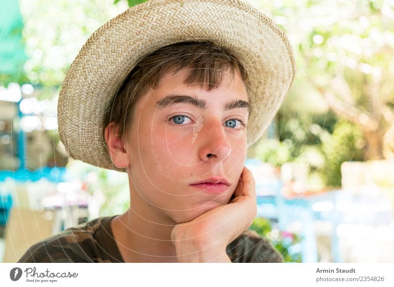 Portrait with straw hat Lifestyle Style Joy Harmonious Well-being Contentment Senses Relaxation Calm Vacation & Travel Summer Restaurant Human being Masculine