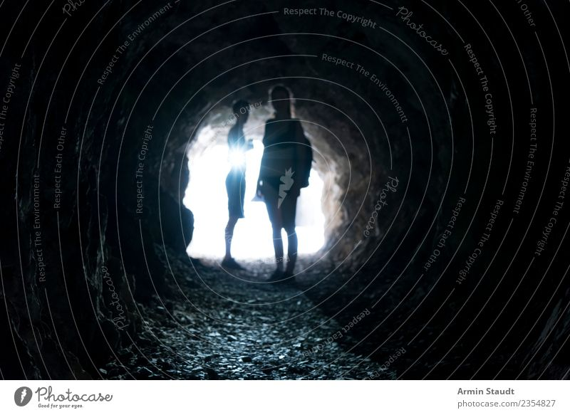tunnels Lifestyle Senses Vacation & Travel Summer Human being Young woman Youth (Young adults) Young man Brothers and sisters Family & Relations Couple 2 Tunnel