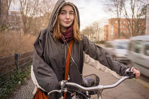 Portrait with bicycle Lifestyle Shopping Style Leisure and hobbies Cycling Feminine Young woman Youth (Young adults) Woman Adults 1 Human being 18 - 30 years