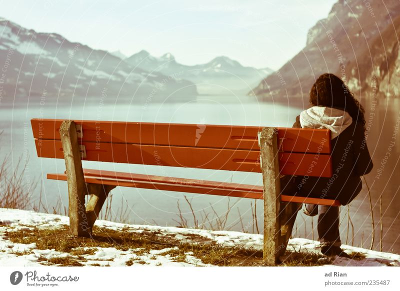 Human being Sky Nature Youth (Young adults) Winter Loneliness Calm Adults Landscape Snow Ice Wait Sit Young woman Frost 18 - 30 years