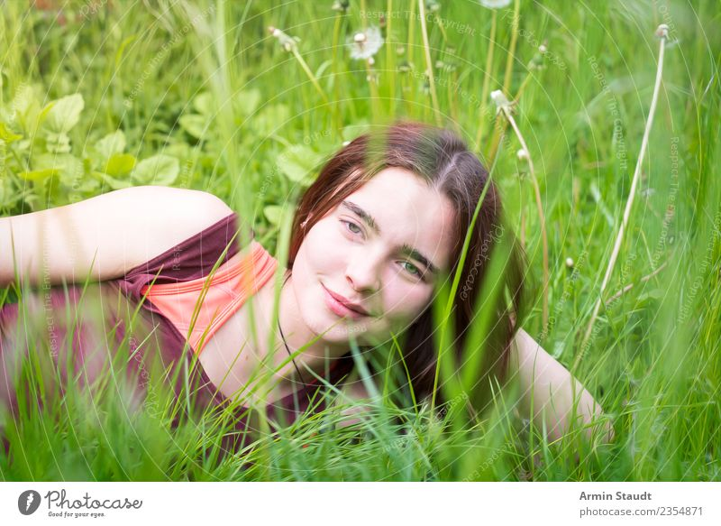 Portrait through spring meadow Lifestyle Style Joy Happy Beautiful Harmonious Well-being Contentment Senses Relaxation Calm Summer Human being Feminine