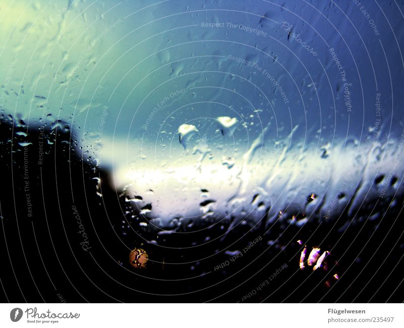Blue Black Dark Window Rain Weather Drops of water Symbols and metaphors Thunder and lightning Dusk Window pane Bad weather Storm front