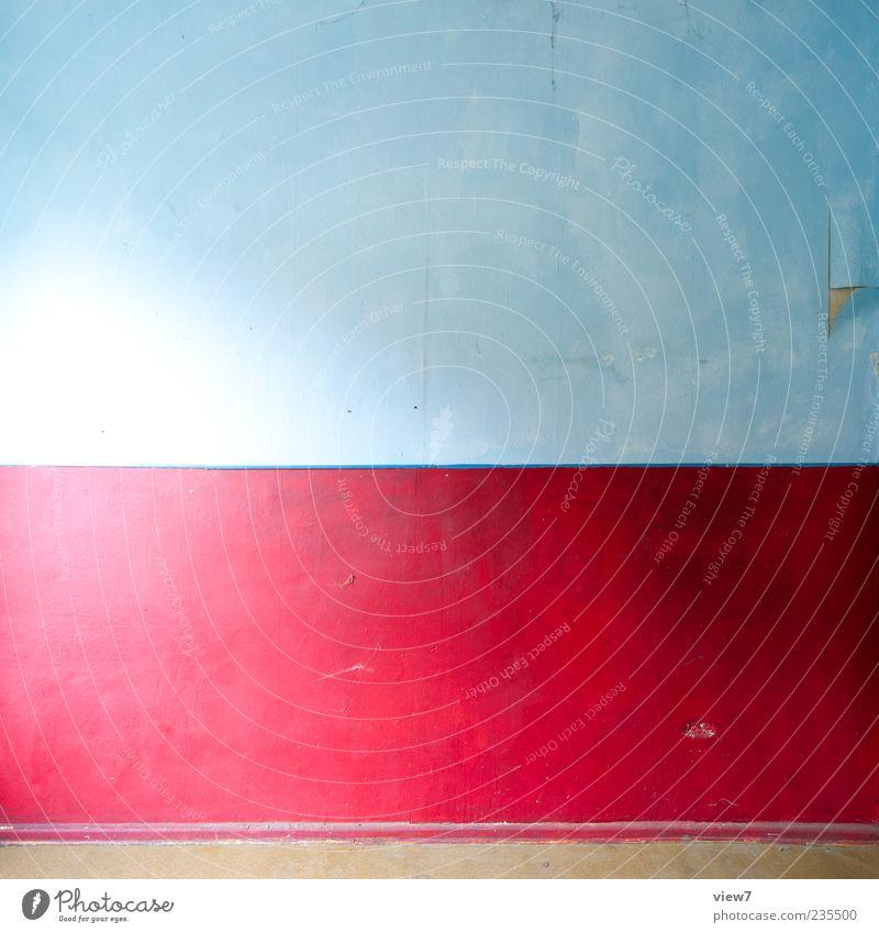 = x = Wall (barrier) Wall (building) Stone Concrete Line Stripe Simple Uniqueness Modern New Blue Multicoloured Red Esthetic Colour Colour photo Interior shot