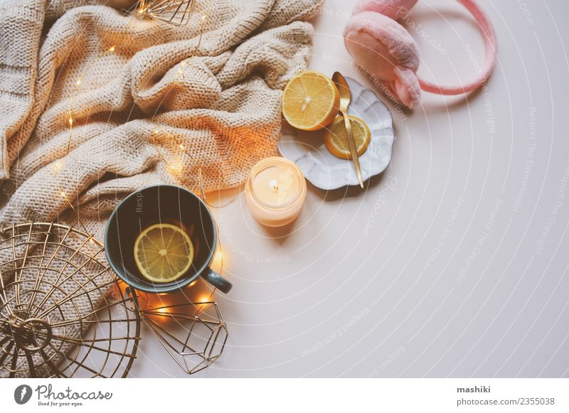 Cozy winter morning at home White Relaxation Winter Pink Copy Space Decoration Modern Candle Kitchen Seasons Hot Home Tea Still Life Lemon
