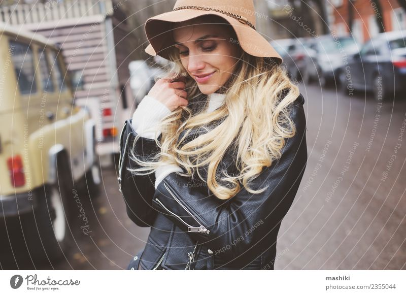 woman on city walk Woman Vacation & Travel Youth (Young adults) Young woman Joy 18 - 30 years Adults Lifestyle Autumn Emotions Feminine Happy Fashion Think