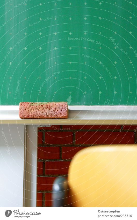 I want to go to school with you. Education School Classroom Study Brown Yellow Gray Green Red Blackboard Chair Colour photo Interior shot Deserted
