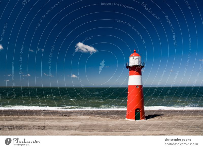 Ocean Summer Loneliness Far-off places Freedom Building Waves Manmade structures Navigation Landmark Lighthouse Tourist Attraction Surf Netherlands White crest
