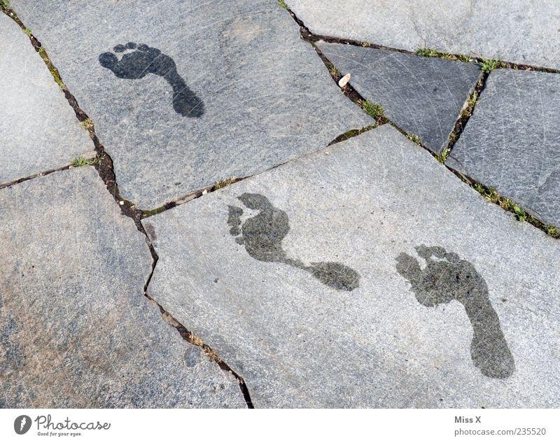 Water Summer Walking Wet Footprint Seam Barefoot Paving tiles Stone slab Tracks
