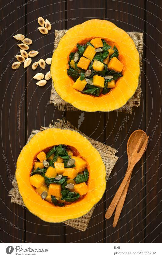 Pumpkin and Chard Salad Dish Natural Vegetable Meal Vegetarian diet Side Half Vertical Hallowe'en Rustic Snack Thanksgiving Mangold