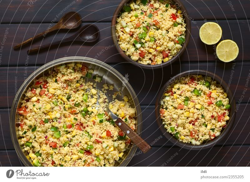 Vegetable and Couscous Salad Dish Fresh Grain Dinner Meal Vegetarian diet Side Lunch Tomato Lemon Horizontal Rustic Raw Snack