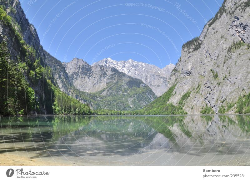 Sky Nature Water Tree Plant Far-off places Relaxation Landscape Mountain Lake Rock Idyll Alps Beautiful weather Peak Lakeside