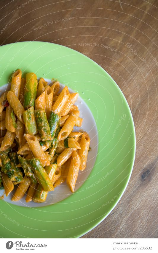 green asparagus on pasta Food Herbs and spices Cooking oil Noodles Parmesan Nutrition Lunch Organic produce Vegetarian diet Diet Slow food Italian Food Crockery