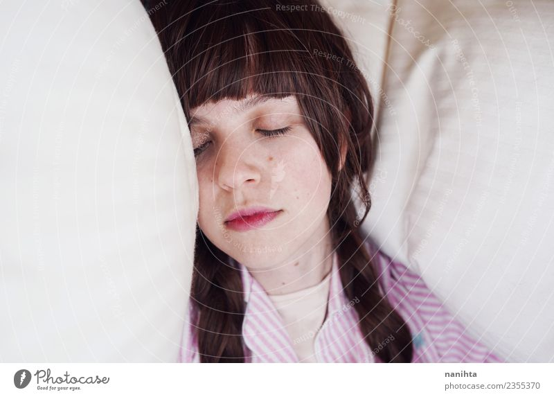 Young woman sleeping in her bed Lifestyle Hair and hairstyles Skin Face Healthy Wellness Relaxation Calm Bed Human being Feminine Youth (Young adults) 1