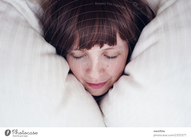Young woman sleeping in her bed Lifestyle Joy Beautiful Skin Face Healthy Wellness Well-being Relaxation Calm Bed Human being Feminine Youth (Young adults) 1