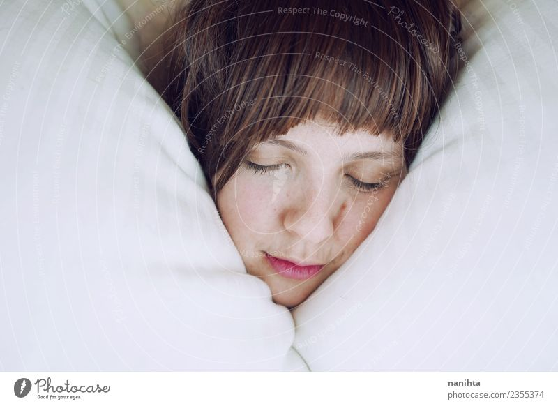Young woman sleeping in her bed Human being Youth (Young adults) Beautiful Relaxation Calm Joy 18 - 30 years Face Adults Life Lifestyle Healthy Feminine Moody
