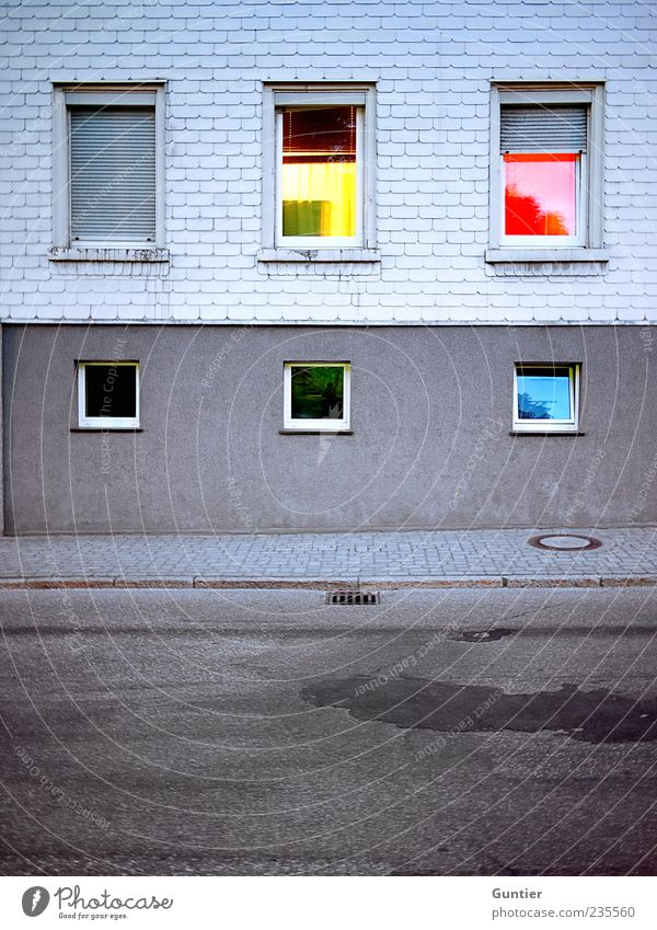 Blue Green Red Black House (Residential Structure) Yellow Street Window Wall (building) Gray Wall (barrier) Facade Gloomy Village Sidewalk Boredom