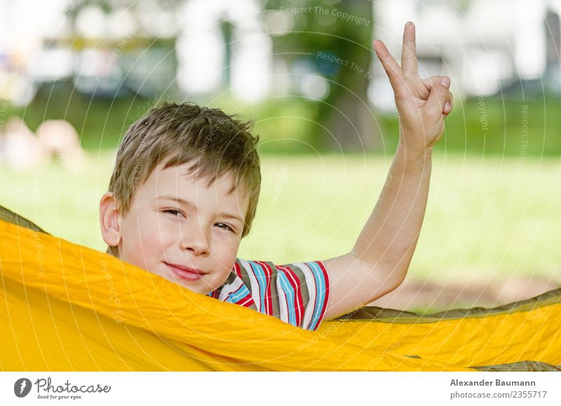 young boy in a hammock, hand raised in victory sign Joy Success Child Human being Boy (child) Head Hand 1 8 - 13 years Infancy Emotions Peace white happy