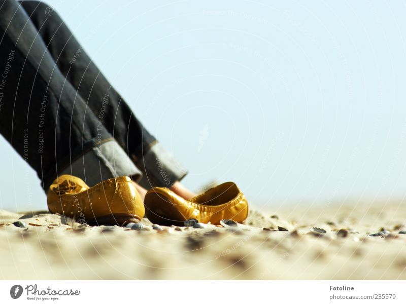 Spiekeroog | Suse relaxed ;-) Human being Woman Adults Legs Environment Nature Elements Sand Sky Cloudless sky Beach Bright Contentment Relaxation Footwear