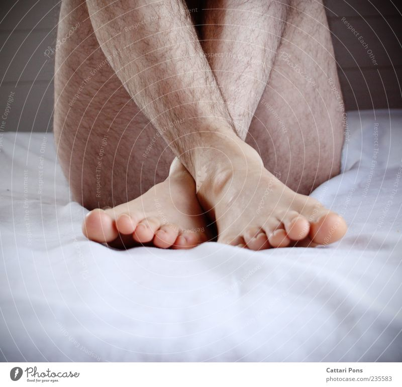 Unobtainable Masculine Body Skin Crouch Sit Bright Near Naked Natural Thin Shame Protection Hair Feet Hairy legs Legs Toes Crossed Sheet Hidden Interior shot