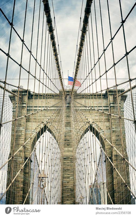Brooklyn Bridge, New York City. Sky Vacation & Travel Town Architecture Tourism Retro Elegant Vantage point USA Uniqueness Tourist Attraction