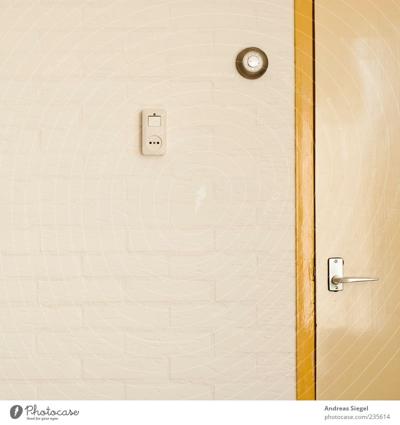 Bungalow en Caravan Wall (barrier) Wall (building) Door Socket Simple Yellow White Light switch Graphic Reduced Colour photo Detail Copy Space left Door handle