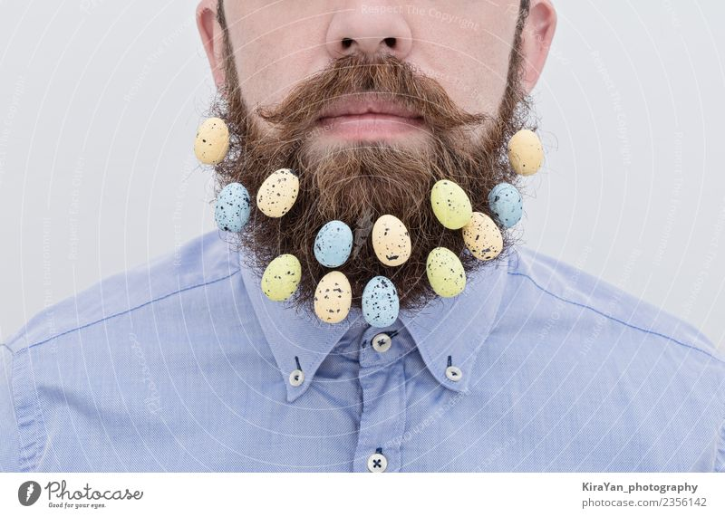 Close up of handsome bearded man with Easter eggs Lifestyle Style Happy Face Decoration Feasts & Celebrations Office Human being Man Adults Fashion Shirt