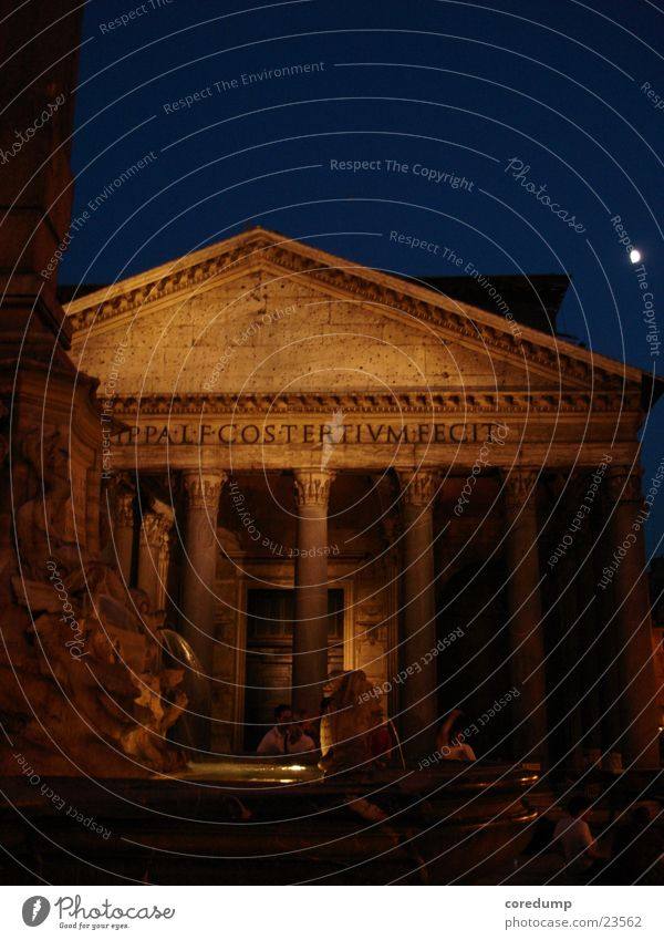 panteneon_night Rome Night Well Building Summer night Cone of light Historic Romance Architecture Panteneon 200 B.C. Past Column
