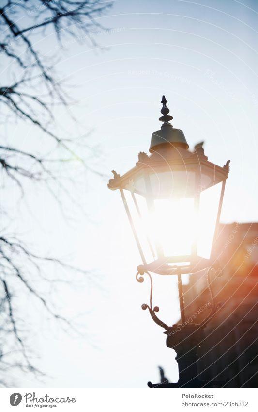 #A# Dresden lamp Art Esthetic Light Sunlight Lamp Saxony Old town Lantern Street lighting Colour photo Subdued colour Exterior shot Detail Experimental Abstract
