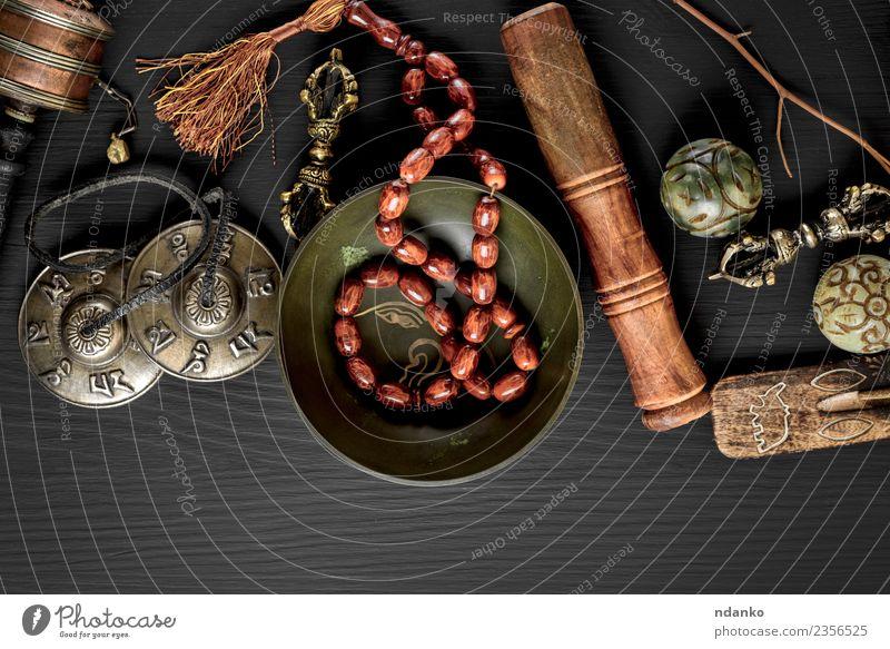 Tibetan religious objects for meditation Medical treatment Alternative medicine Medication Harmonious Relaxation Meditation Tool Stone Wood Old Above Retro