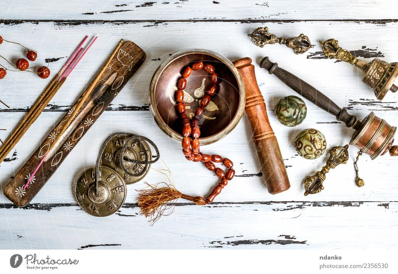 Tibetan religious objects Medical treatment Alternative medicine Medication Harmonious Meditation Tool Stone Wood Old Above Retro Brown White Stress Energy