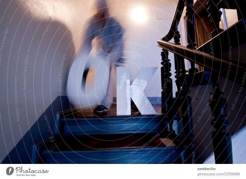 OK (8) Landing Descent Downward Go up Upward Handrail Banister House (Residential Structure) Man Apartment house Human being Deserted