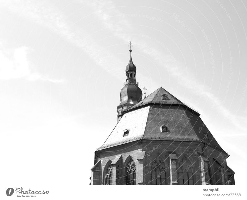 Sky Religion and faith Tower Historic Beautiful weather Christianity Marketplace House of worship Black & white photo Summer's day Heidelberg