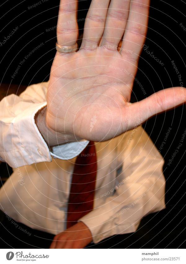 block Man Hand Tie Shirt Block Doorman Circle You're not coming in here. X
