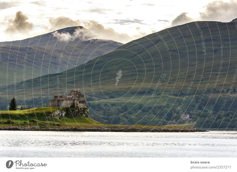 Duart Castle. Sky Nature Vacation & Travel Old Blue Summer Green Landscape Ocean Architecture Coast Building Tourism Exceptional Moody Trip