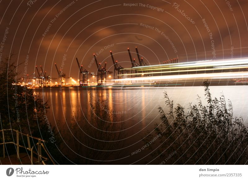 harbour lights Workplace Economy Logistics Crane Summer River bank Elbe Hamburg Port City Inland navigation Harbour Far-off places Gigantic Large Town Moody