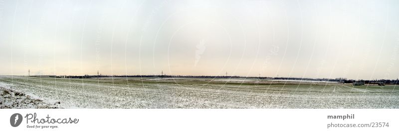 Sky White Green Winter Snow Field Large Panorama (Format) Cover Lower Saxony Braunschweig Wolfenbüttel