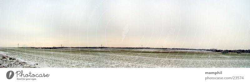 Sky White Green Winter Snow Field Large Panorama (Format) Cover Lower Saxony Braunschweig Wolfenbüttel