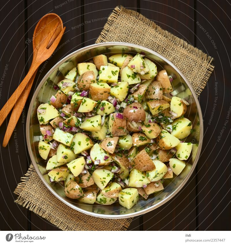 Potato Salad with Onion and Herbs Dish Natural Herbs and spices Vegetable Meal Vegetarian diet Side Cut Snack Potatoes Chives Parsley