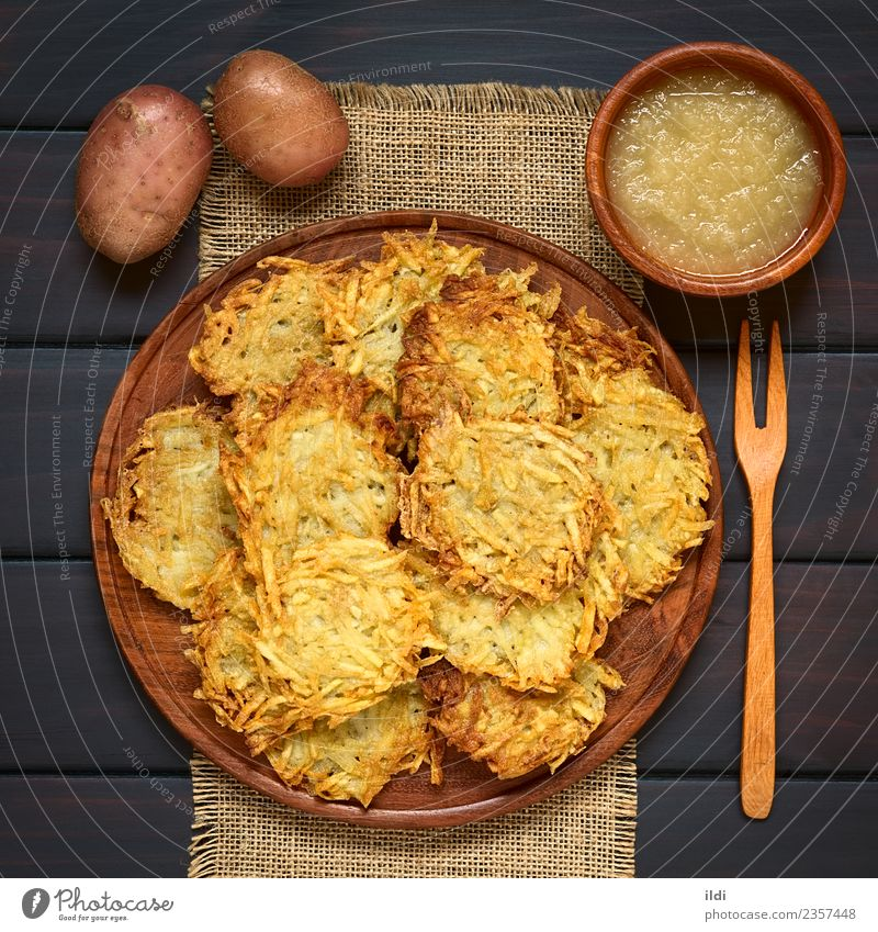 Potato Pancake or Fritter with Apple Sauce Vegetable Fruit Vegetarian diet Natural food fritter patty Meal Dish Snack grated pureed stewed German reibekuchen