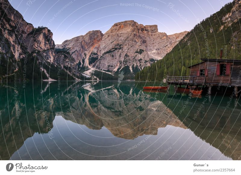Braies mirror_001 Relaxation Vacation & Travel Tourism Trip Adventure Far-off places Freedom Summer Summer vacation Mountain Hiking Nature Landscape Water Rock