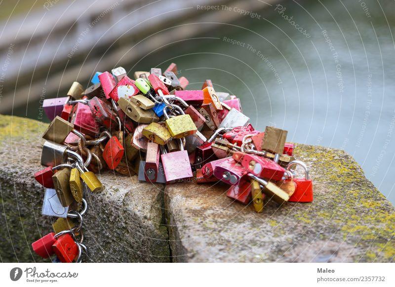 love palaces Love padlock Bridge Red Padlock Symbols and metaphors Couple Romance Bridge railing Lock Culture Heart Eternity Metal Metalware Matrimony Closed