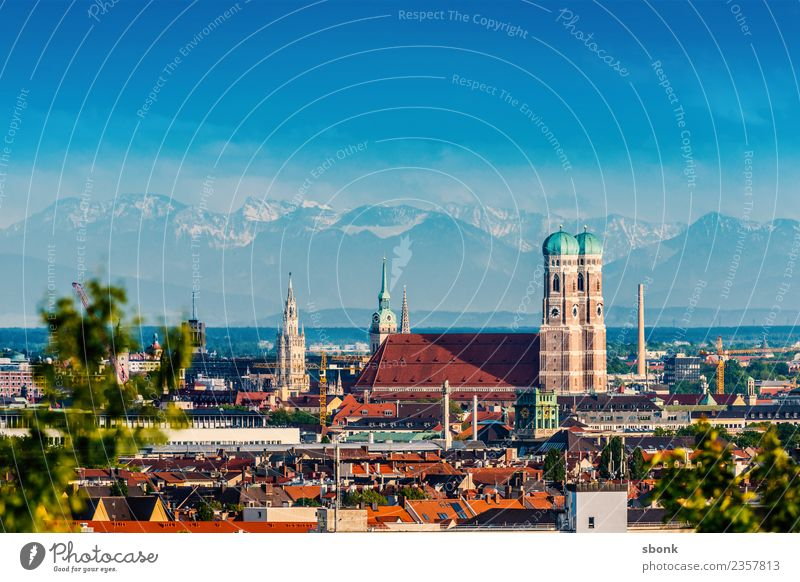 Munich Summer with Frauenkirche and Alpine Panorama Town Skyline Vacation & Travel Germany alps view urban panorama cityscape City architecture Bavaria