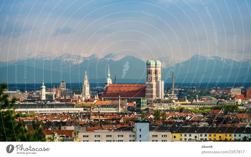 Munich Church of Our Lady and Alpine Panorama Summer Skyline Womens chruch Vacation & Travel Germany Frauenkirche alps view urban panorama cityscape City