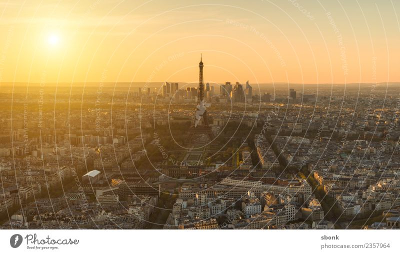 Paris Sunset Vacation & Travel Summer Skyline Eiffel Tower Love France urban City architecture tourism French cityscape view sky Colour photo Evening Twilight